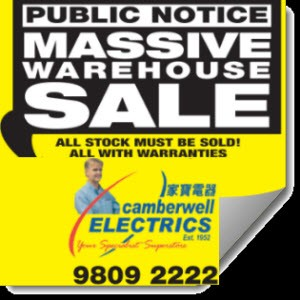 Camberwell Electrics WAREHOUSE SALE on 22nd March (ONE DAY ONLY)