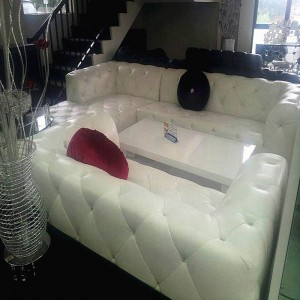 100% New Advanced Italian Leather& Crystal sofa lounge (Corner+2)
